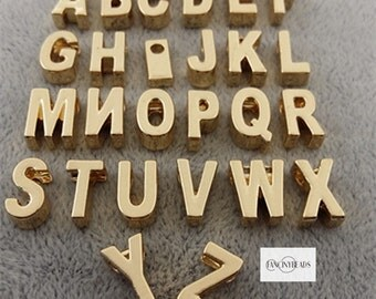 Shop sale till NEW YEAR eve-From A TO Z-gold- alphabet charms-F1066-fit  through chains-26 pcs
