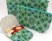 3 Piece Set - Zipper Pouches and Tea Bag Wallet - Cosmetics, First Aid, Baby, Bags for Purse