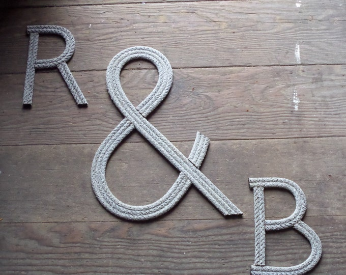 """6"""" Rope Letters Personalize for Nautical Nursery  Wedding Alphabet Nautical Decor Text Letters Natural"""