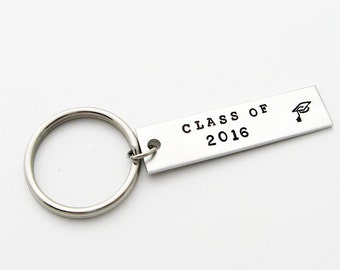 New Graduate Gift: Stamped Keychain for Graduation Gift (Class of 2016, 2017, 2018, 2019, 2020)
