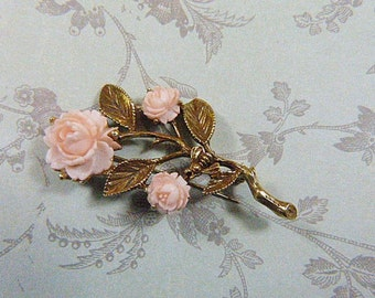 Vintage Carved Pink Flower Gold Brooch - Carved Flower Brooch - Vintage Floral Brooch - Vintage Floral Pin - Flower Pin - BR-116