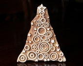 Textile Stamp, Pottery Stamp, Indian Wood Stamp, Tjaps, Blockprint Stamp- Circles Christmas Tree