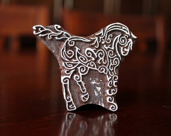 Pottery Stamps, Indian Wood Stamp, Textile Stamp, Wood Blocks, Tjaps, Printing Stamp- Stylized Horse
