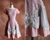 vintage 1950's lavender lace party prom dress with giant silk chiffon bow / size s