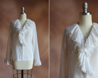vintage 1960's cream polka dot ruffled collar blouse / size s