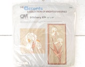 White Iris Needlepoint Kit Vintage Floral Embroidery Kit 1980s Large 12 x 28 Unopened Craft Kit