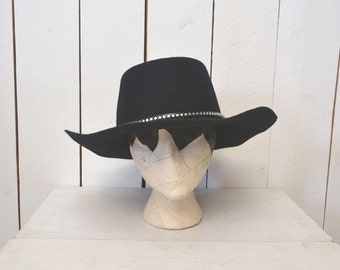 Black Wool Felt Hat Boho Gypsy Cowboy Style 1980s Vintage Lanning Silver Stud Hat Large 7 3/8