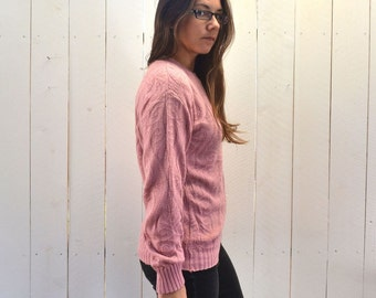 Baroque Knit Sweater Early 90s Audrey Horne Twin Peaks Vintage Pink Crew Neck Pullover Small Medium