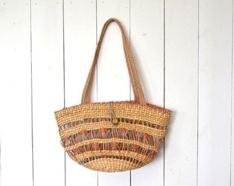 Straw Tote Bag 70s Vintage Beach Boho Double Handle Colorful Woven Straw Bag