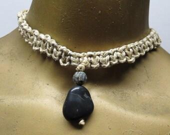 SALE Black stone and spiderweb jasper stone unisex choker necklace made with hemp.  HCK-872