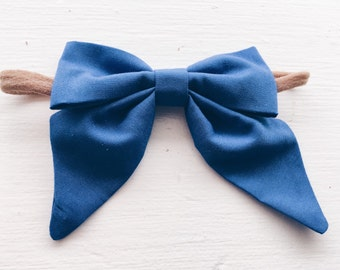 Large royal blue sailor bow headband.