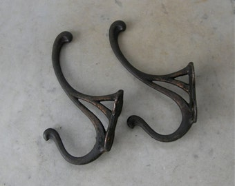 TWO IRON HOOKS Vintage Iron Coat and Hat Hooks American Primitive Iron Work 4 Hanging Holes Made in America Early to Mid 1900 Free Shipping!