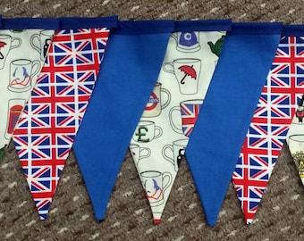 Union Jack bunting, British fabric bunting, British decor, flag bunting, Union Jack decor, London  bunting, London bus bunting, UK bunting