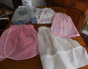 weet lot of 5 Vintage Half Aprons Smocking Embroidery Organdy Hankerchief Fancy