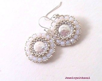 white pearl earrings, beadwoven hoop earrings with freshwater pearl coins and seed beads, gift for her, spring jewelry