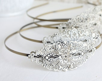 Bridesmaid Hair band - Filigree Headband - Rustic Headband - Gift for Her - Gifts under 15 - White Headband - Bridesmaid Gift - Headband Set