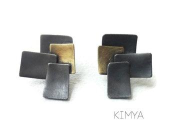 Contemporary Stud Earrings - Oxidized Silver Brass Asymmetric Earrings - Modern Square Geometric Earrings - Unique Handmade Silver Earrings