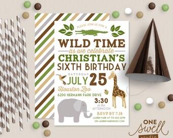 Wild Animal Boy Birthday Zoo Invitation Safari or Jungle Invite Printable Birthday Party