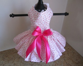 Dog Dress  XS Hot Pink Little Flowers By Nina's Couture Closet