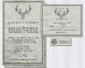 Birch Tree Bark Wedding Invitations, Deer Antler Wedding Invitation, Outdoor Nature Wedding, Hipster Wedding Stationery, Cheap Invites