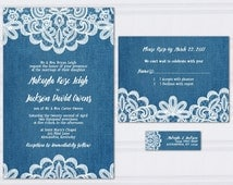 Denim and Lace Wedding Invitation, Blue Jean Wedding Invitations, Rustic Invite Set, Lace Wedding, Blue and White, Budget Wedding