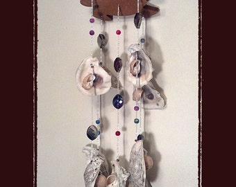 Sea Shell Wind Chime Suncatcher Gulf Coast Oysters w/Crystals, Beach/Coastal/Nautical Decor, Patio/Yard/Garden Decor