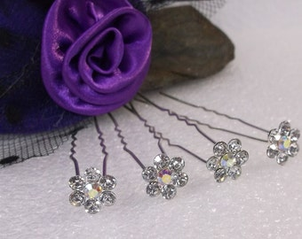 5 Flower Shaped Crystal Hair Pins