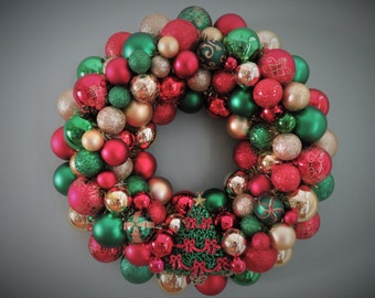 "Christmas Wreath 18""-RED & GREEN  and GOLD Christmas Ornament Wreath with Tree Ornament"