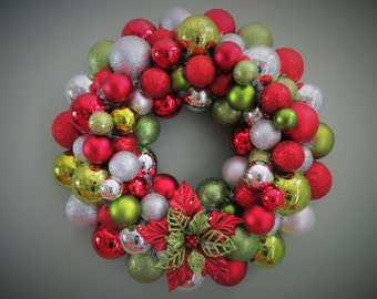 CHRISTMAS Wreath GLITTERED POINSETTIA Ornament Wreath Red Lime Silver Christmas Wreath