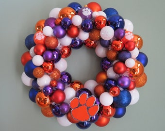 CLEMSON TIGERS Team Ornament Wreath