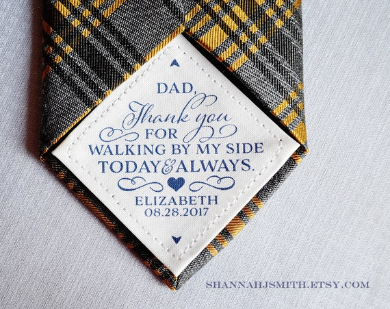 Father Gifts Wedding: Thank You Dad Wedding Tie Patch Personalized Dad Gift