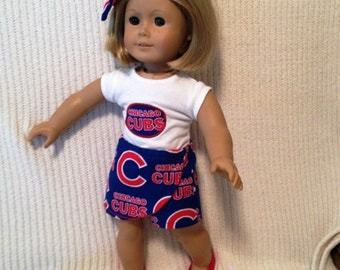 18 inch doll (modeled by American Girl) Chicago Cubs shirt and skort set