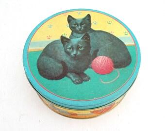 Vintage Cat Round Tin Playful Kittens