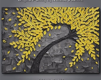 """Large 36""""x24""""x1.5"""" Original Blossom Tree Painting - Yellow & Gray - Palette Knife Impasto Textured - Gallery Stretched Canvas  FREE SHIPPING"""