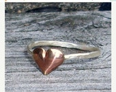 SALE Little Puffy Heart- Sterling Silver and Brass -Stacking Ring