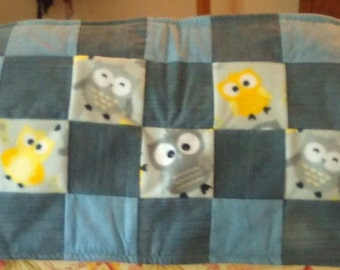 Baby Owl Denim and Fleece Mini Quilt/Changing Pad