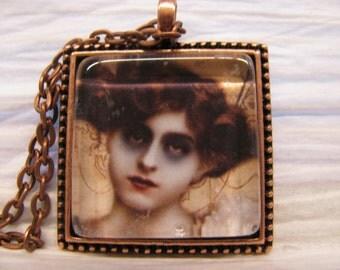 Victorian Zombie Woman pendant necklace