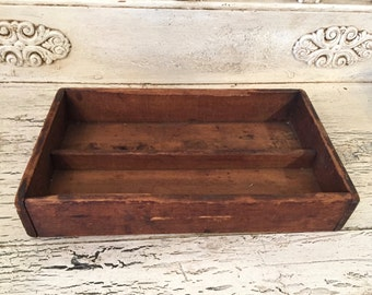Vintage Rustic Wood Catchall Tray - Divided