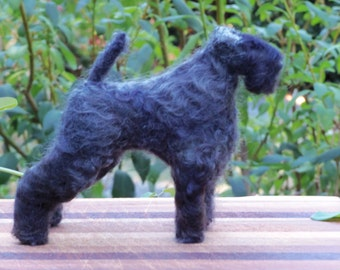 Kerry Blue Terrier needle felted dog in stock ready to ship now