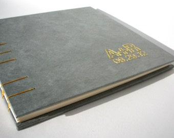 Personalized Wedding Guest Book - Gray, Coptic Stitch Binding, Hand Bound Book, Made to Order