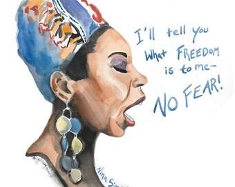 Nina Simone Portrait, inspiring women, inspiring quote, NO FEAR