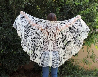 Crocheted -Off White- Wraps Shawl,Evening Off White shawl, Off white dress, extra large shawl