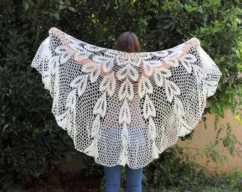Crocheted Off White  Wraps Shawl Evening Off White shawl Off white dress extra large shawl Crochet Shawl