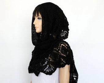 Black shawl Spring Hand Knit  Shawl,  Knitted Lace Shawl, Womens Wraparound Shawl crochet shawl