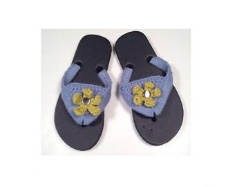 Crochet Flip Flops Hippie Sandals Boho Sandals Beach Flip Flops Summer Sandals Thong Sandals Summer Shoes Flower Flip Flops Blue Flip Flops