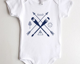 Baby Onesie - Canoe Paddle Arrows & Mountain - Screen Printed Baby Outfit