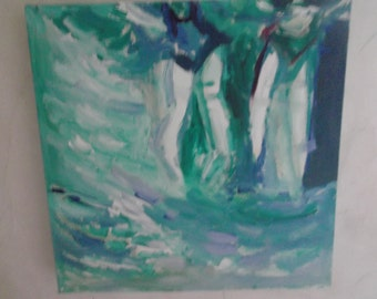 into the deep, OIL PAINTING signed, swimming, summer