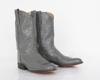 Vintage Cowboy Boots in Gray Womens 6 NARROW