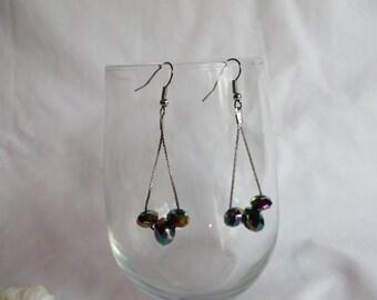 Purple  Earrings on Silver Ear Wires, Earrings, Dangle, Purple, Lavender