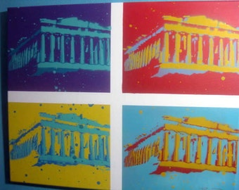 Poparthenon Original Stencil Painting by Beau Pope POP Art Parthenon Warhol NEW